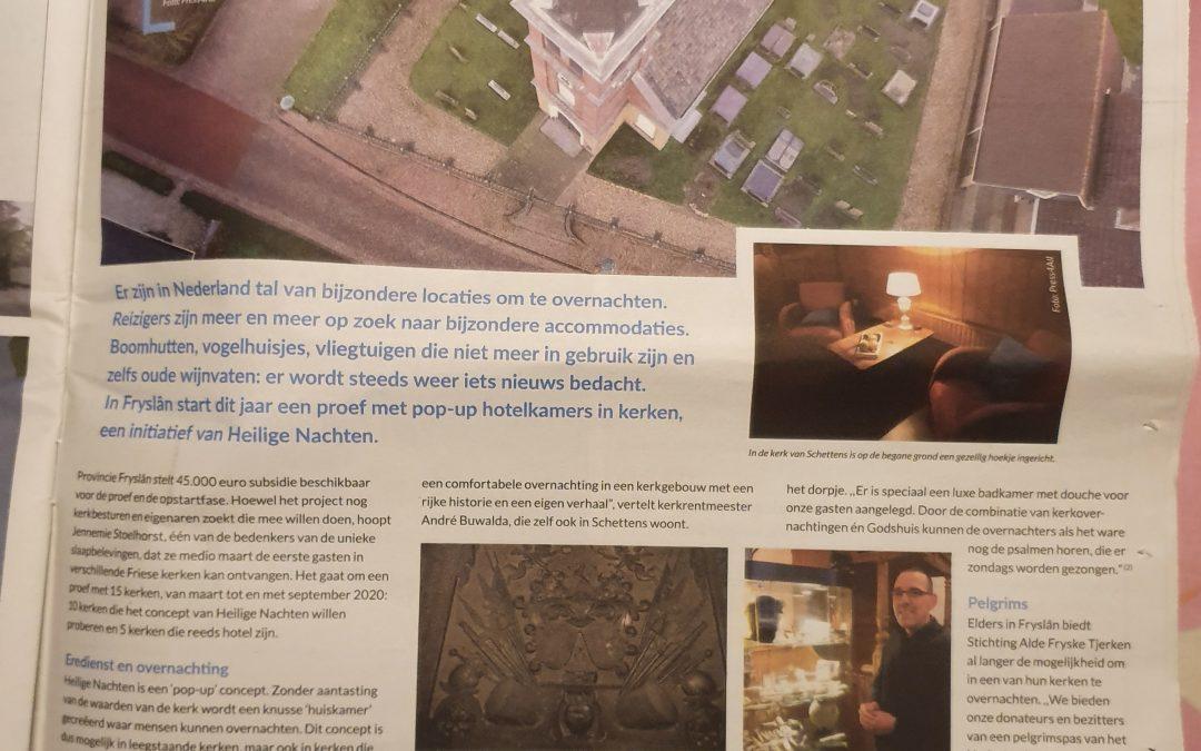 Hele pagina in de Reis&Co bijlage van het Friesch Dagblad (jan. 2020)